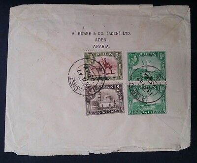 SCARCE 1947 Aden Cover ties 4 George VI stamps canc Aden to Detroit USA