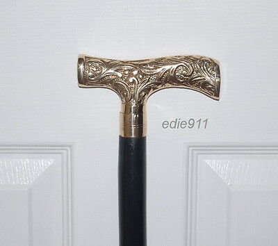 "WALKING CANE~FREE S/H~ Nickel Handle 37"" COMFY DERBY STICK~BRITISH DOWNTON LOOK!"