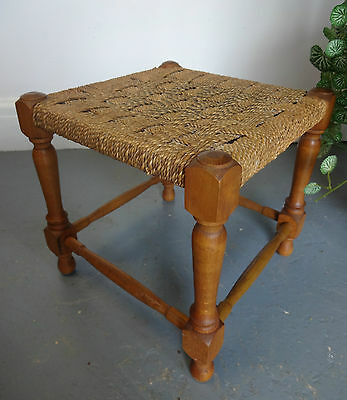 Vintage Rattan Woven Shabby Chic Wooden Stool