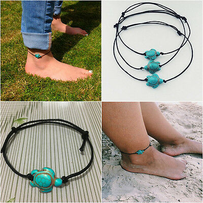 Women Turquoise Turtle Ankle Chain Anklet Bracelet Foot Beach Jewelry