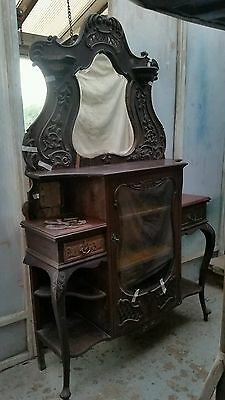 Antique Victorian flame Mahogany Mirrored Chiffonier Sideboard display Cabinet
