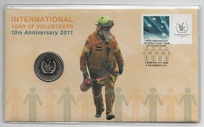 2011 (14) PNC: 10th INT. YEAR OF VOLUNTEERS W/ 20c UNC COIN - No. 13137 / 20000
