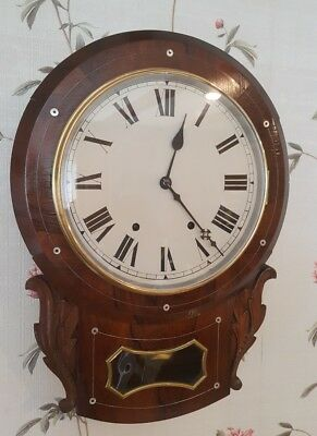 A Lovely Antique Rosewood American Drop Dial Wall Clock. Mother of Pearl Inlay.
