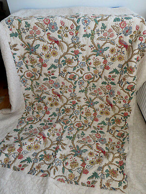 "Vintage quilt/bed cover, Jacobean birds & flowers, 71""x93"", large, double/king"