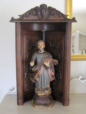 Antique French Carved Wood Statue Niche - Statue Sold Separately