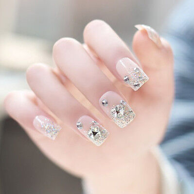 24 Pcs Set Pink Bling Bling Drill Non-Glue Press-On Completed Nail Tips
