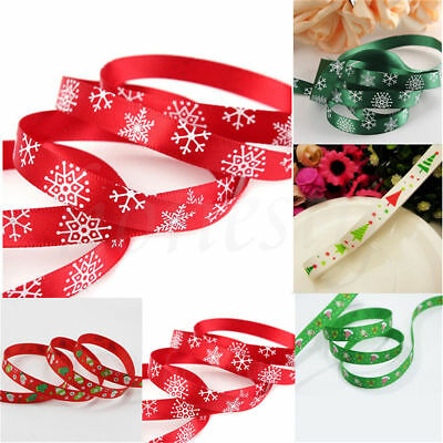 2/10Yards Christmas Grosgrain Ribbon Merry Xmas Tree Gifts Decorations 10mm