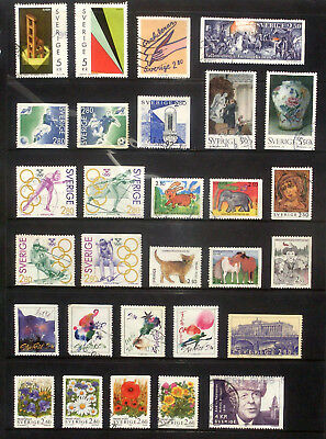 1992, good lot of used stamps from Sweden