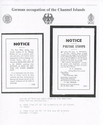 GB GUERNSEY GERMAN Occupation Bisect Usage Official Notice Copies NB2865
