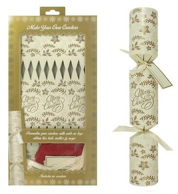 Pack Of 6 Make Your Own Personalised Traditional Christmas Cracker Cream & Gold