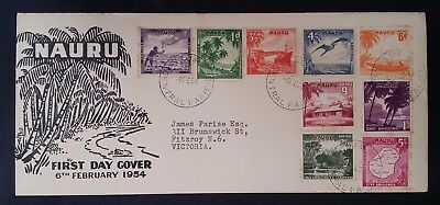 1954 Nauru Native Pictures FDC ties 9 stamps to Fitzroy Australia