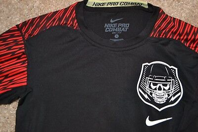Nike Mens PRO COMBAT DRI-FIT Compression Shirt FOOTBALL Black Size S EUC