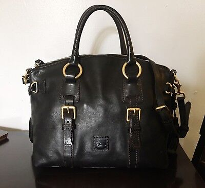 Women's DOONEY & BOURKE Black Solid Leather Florentine Bristol Satchel Bag