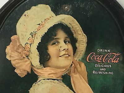 Vintage Antique 1971 Coca Cola Metal Tin Oval Serving Tray 1914 Betty Girl Pink