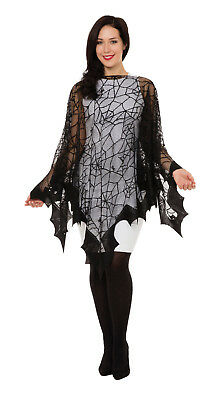 Spider Web Fishnet Cape Halloween Costume Adults Womens Fancy Dress Accessory