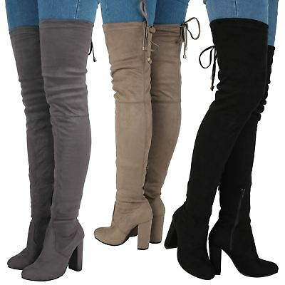 Ladies Womens Over The Knee Thigh High Block Heel Lace Up Zip Stretch Boots Size