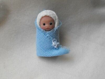 OOAK handmade miniature sulpt  5 cm  clay  bundle baby  doll  1/12th  by Carol