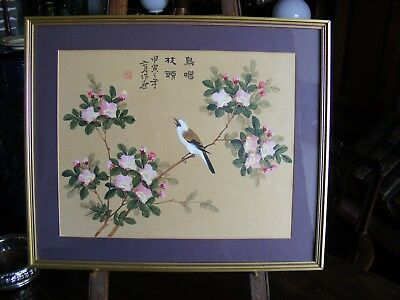 Vintage Chinese Painting on Silk Bird and Flowers Signed - Framed