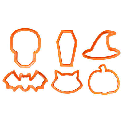 Pack of 6 Halloween Cookie Cutters - Skull, Coffin, Witch Hat, Bat, Cat, Pumpkin