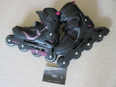 Oxelo Inline Roller Skates UK8/EU42 Womens/Girls Black/Pink EUC/VGC