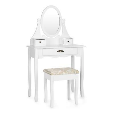 Dressing Table Antique Make up Stool Chair 3 Chest Drawer Mirror Rotating White