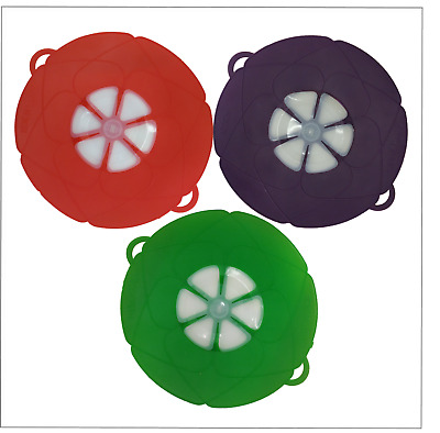 Multi-Purpose Silicone Pan Lid Cover, Spill Proof Cover - Red, Green Purple