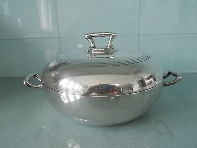 Antique / Vintage Nickel Silver ( Plated?) Tureen / Dish / Bowl With Lid / Cover