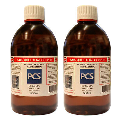 2 x Colloidal Copper 25ppm - 500ml [2 For 1 Deal] - Includes 1st Class P&P!