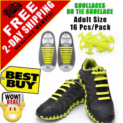 16 Pcs Yellow Elastic Lacing System Laceless Slip On No Tie Silicone Shoe Laces