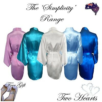 Plain Satin Bridal Party Robes Wedding Dressing Gown Bride Bridesmaid Lavender