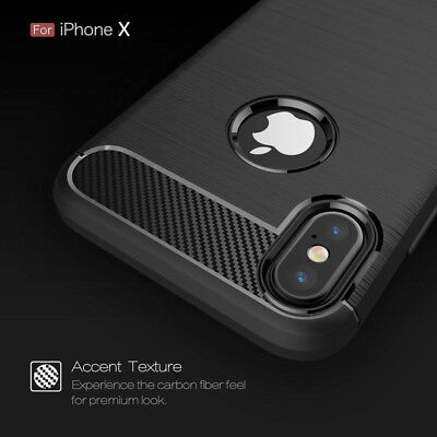 For iPhone 8 7 6S Plus X Thin Soft Silicone Rubber Shockproof Carbon Case Cover