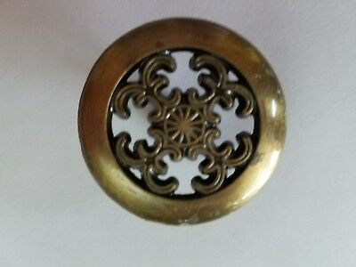 "Vintage New-Old Stock 1 1/2"" (Lot 2) Round Antique Brass Cabinet Pull Handle"