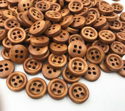 100X Wooden brown Buttons Sewing 4-holes Scrapbooking Round Button Crafts 12mm