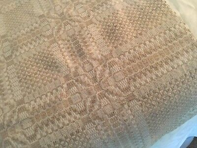 Antique Woven Coverlet Or Table Cover