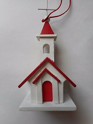 New White and Red Resin Church Christmas Ornament 6.5 inches No Box Lights Up