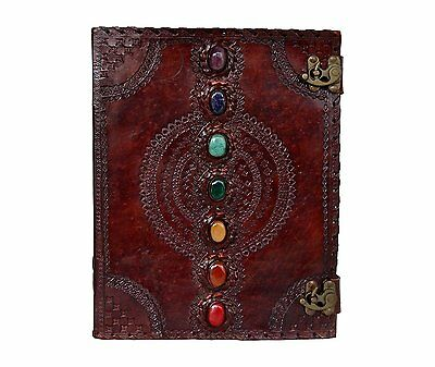 Seven Medieval Stone Notebook Handmade Book of Shadow Leather Journal 13'' Diary