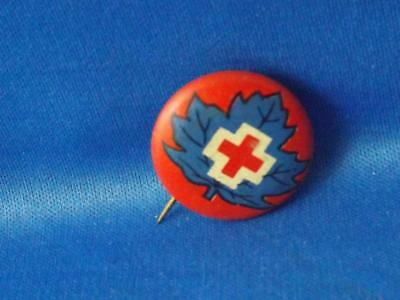 RED CROSS CANADA BUTTON VINTAGE PIN COLLECTOR made in MONTREAL