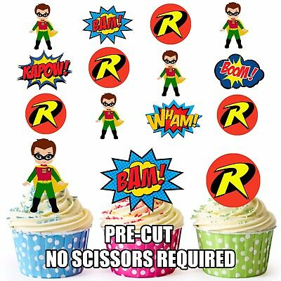 PRE-CUT Superhero Robin Edible Cup Cake Toppers Party Decorations (Pack of 36)