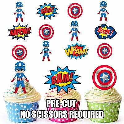 PRE-CUT Superhero Captain America Edible Cup Cake Toppers Party (Pack of 36)