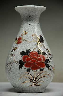 Beautiful Chinese Porcelain Handwork Painting Subshrubby Peony Flower Bird Vase