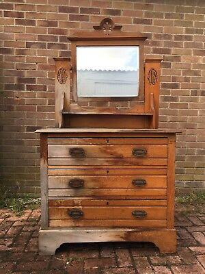 Antique Victorian Wooden Bedroom Dressing Table With Mirror C1890 -1900