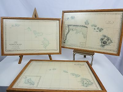 Set of 3-Lithographs of Antique Maps Sandwich Islands 1982 Ltd Ed Lahaina Hawaii