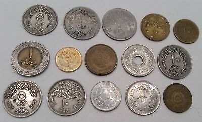 Egypt 15 different Egyptian coins