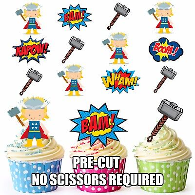PRE-CUT Superhero Thor Edible Cup Cake Toppers Party Decorations (Pack of 12)