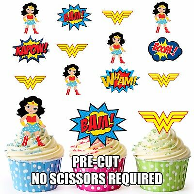 PRE-CUT Superhero Wonder Woman Edible Cup Cake Toppers Decorations (Pack of 12)