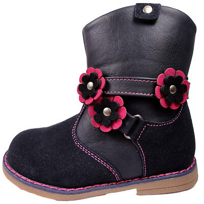 Girls Navy Infant Chatterbox Ankle Floral srap on the side Boots Zip Up Shoes