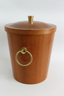 Teak & Messing Design Eiskübel 60s 70s Brass Ice Bucket 60er 70er Danish Modern