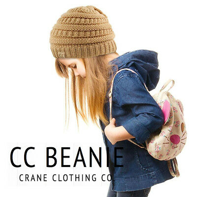 Kids CC Beanie Simple Winter Solid Cable Knit Hat !!!