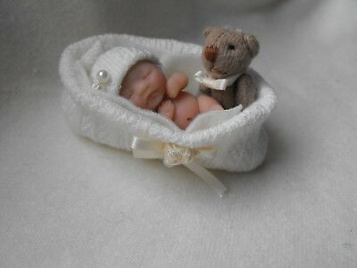 OOAK handmade miniature sulpt  4.5 cm  clay baby cream   doll  1/12th  by Carol