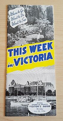 1956 This Week In Victoria, Visitor's Guide, B.c. Canada Vintage Travel Brochure